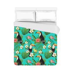 "Tropical Summer Toucan Pattern Duvet Cover 86""x70"" ( All-over-print)"
