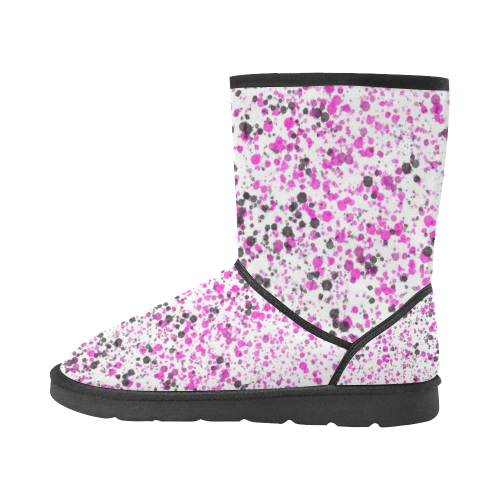 Pink, White and Black Spray Paint Custom High Top Unisex Snow Boots (Model 047)