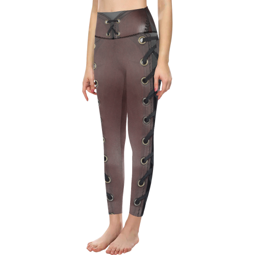 Lace up Leather Texture Print All Over Print High-Waisted Leggings (Model L36)