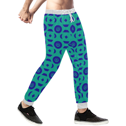 Blue Geometric Shapes in Turquoise Men's All Over Print Sweatpants (Model L11)