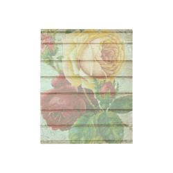 "Vintage Wood Roses Quilt 40""x50"""
