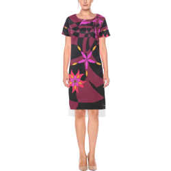 Abstract # 12 Short Sleeves Casual Dress(Model D14)