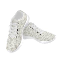 White 3D Geometric Pattern Men's Running Shoes (Model 020)