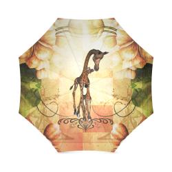 Cute giraffe mum with baby Foldable Umbrella (Model U01)