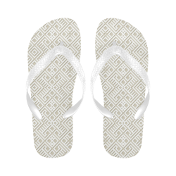 White 3D Geometric Pattern Flip Flops for Men/Women (Model 040)
