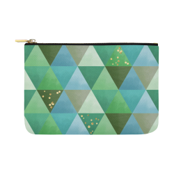 Triangle Pattern - Green Teal Khaki Moss Carry-All Pouch 12.5''x8.5''