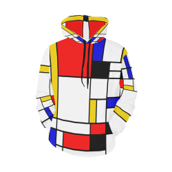 Bauhouse Composition Mondrian Style All Over Print Hoodie (for Men)