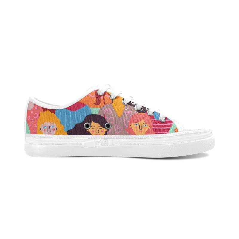Colorful Faces Snickers Women's Canvas Zipper Shoes (Model 001)
