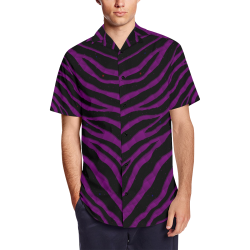 Ripped SpaceTime Stripes - Purple Men's Short Sleeve Shirt with Lapel Collar (Model T54)