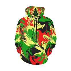 Red, Yellow, Black and Green Swirls 3358 All Over Print Hoodie for Women (USA Size) (Model H13)