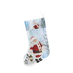 Santa Claus with penguin Christmas Stocking
