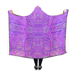 Hot Pink and Purple Abstract Branch Pattern Hooded Blanket 60''x50''