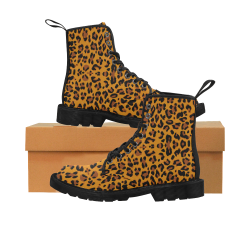 Leopard Martin Boots for Women (Black) (Model 1203H)