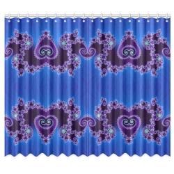 """Blue Hearts and Lace Fractal Abstract 2 Window Curtain 50""""x84""""(Two Piece)"""