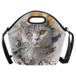 cat kitty art #cat #kitty Neoprene Lunch Bag/Large (Model 1669)