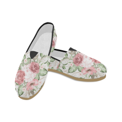 Pink Romance Flower Shoes, Watercolor Floral Unisex Casual Shoes (Model 004)