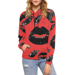 Kisses All Over (Black & Red) All Over Print Hoodie for Women (USA Size) (Model H13)