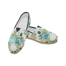 Watercolor Floral Shoes, Teal Flower Bouquet Unisex Casual Shoes (Model 004)