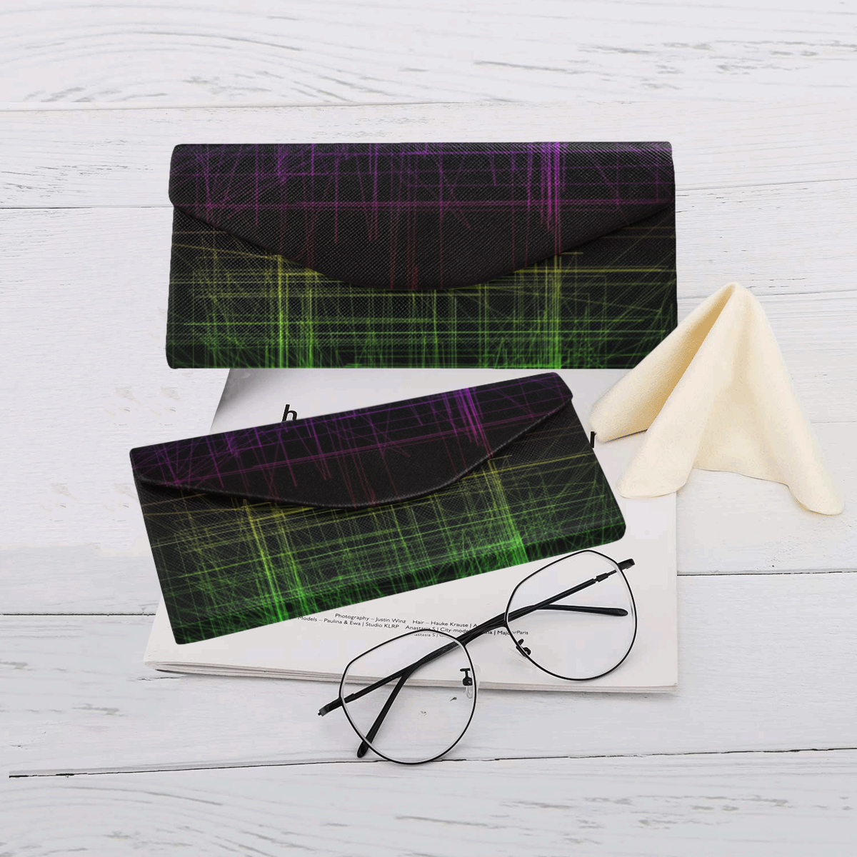 Blue and Green Retro Glitch Custom Foldable Glasses Case