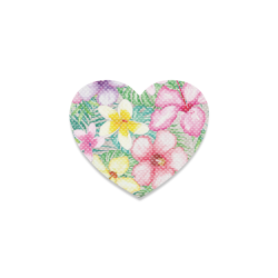 Hawaiian Flowers II Heart Coaster
