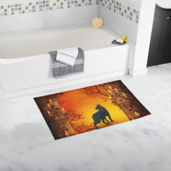Wonderful black wolf in the night Bath Rug 16''x 28''