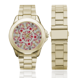 Love and Romance Gingham and Heart Shapped Cookies Custom Gilt Watch(Model 101)