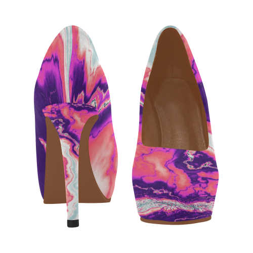 Pink and Purple Geode Women's High Heels (Model 044)