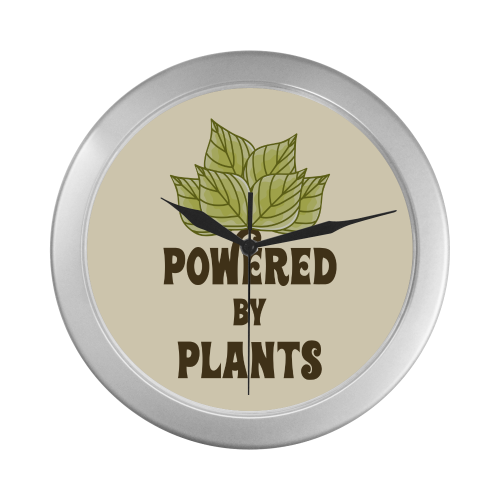 Powered by Plants (vegan) Silver Color Wall Clock