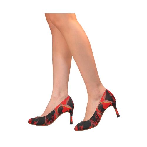 Wild Red Deep Step Crew Women's High Heels (Model 048)