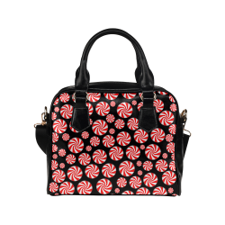 Christmas Peppermint Candy on Black Shoulder Handbag (Model 1634)