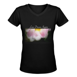 Floating Pink Rose #LoveDreamInspireCo Women's Deep V-neck T-shirt (Model T19)