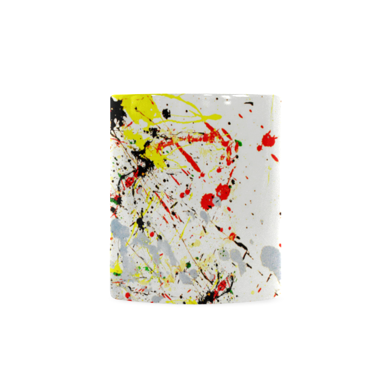 Black, Red, Yellow Paint Splatter Custom White Mug (11OZ)