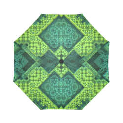 Green Theme 3D Mosaic Auto-Foldable Umbrella (Model U04)