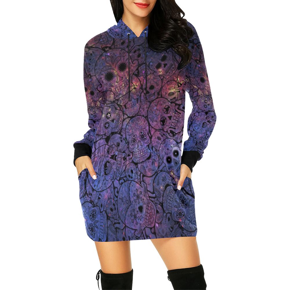 Cosmic Sugar Skulls All Over Print Hoodie Mini Dress (Model H27)