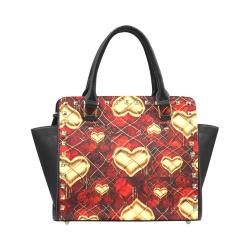 Gothic Heart Pattern Rivet Shoulder Handbag (Model 1645)
