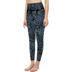 3D psychedelic ornaments, blue All Over Print High-Waisted Leggings (Model L36)
