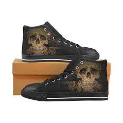 Steampunk Alchemist Mage Roses Celtic Skull halfto Men's Classic High Top Canvas Shoes /Large Size (Model 017)