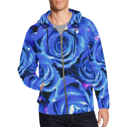 roses are blue All Over Print Full Zip Hoodie for Men (Model H14)