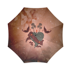 Heart with butterflies Foldable Umbrella (Model U01)