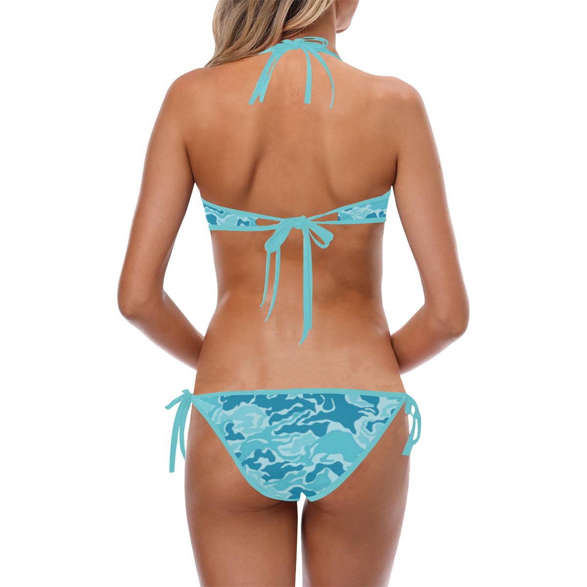 Light Blue Camouflage Pattern Custom Halter & Side Tie Bikini Swimsuit (Model S06)