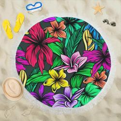 """hibiscus Circular Beach Shawl 59""""x 59"""""""