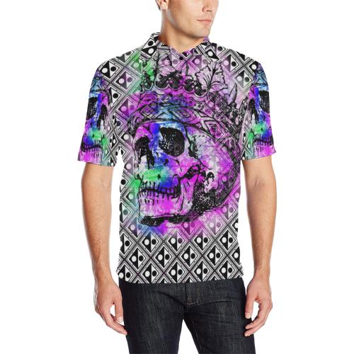 PATTERN SKULL LUXURY POLO Men's All Over Print Polo Shirt (Model T55)