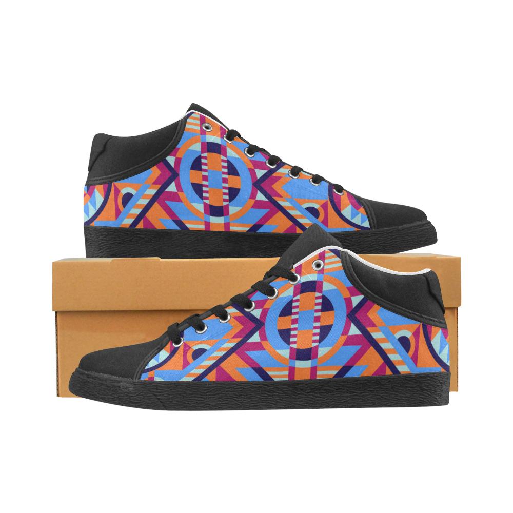 Modern Geometric Pattern Men's Chukka Canvas Shoes (Model 003)