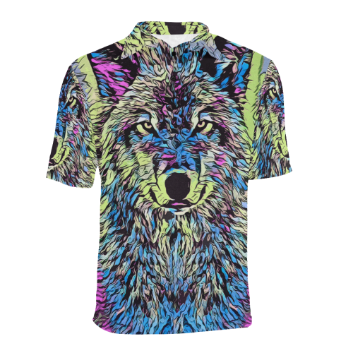 ART WOLF LUXURY POLO Men's All Over Print Polo Shirt (Model T55)