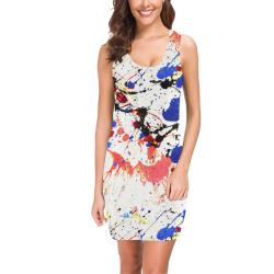 Blue and Red Paint Splatter Medea Vest Dress (Model D06)