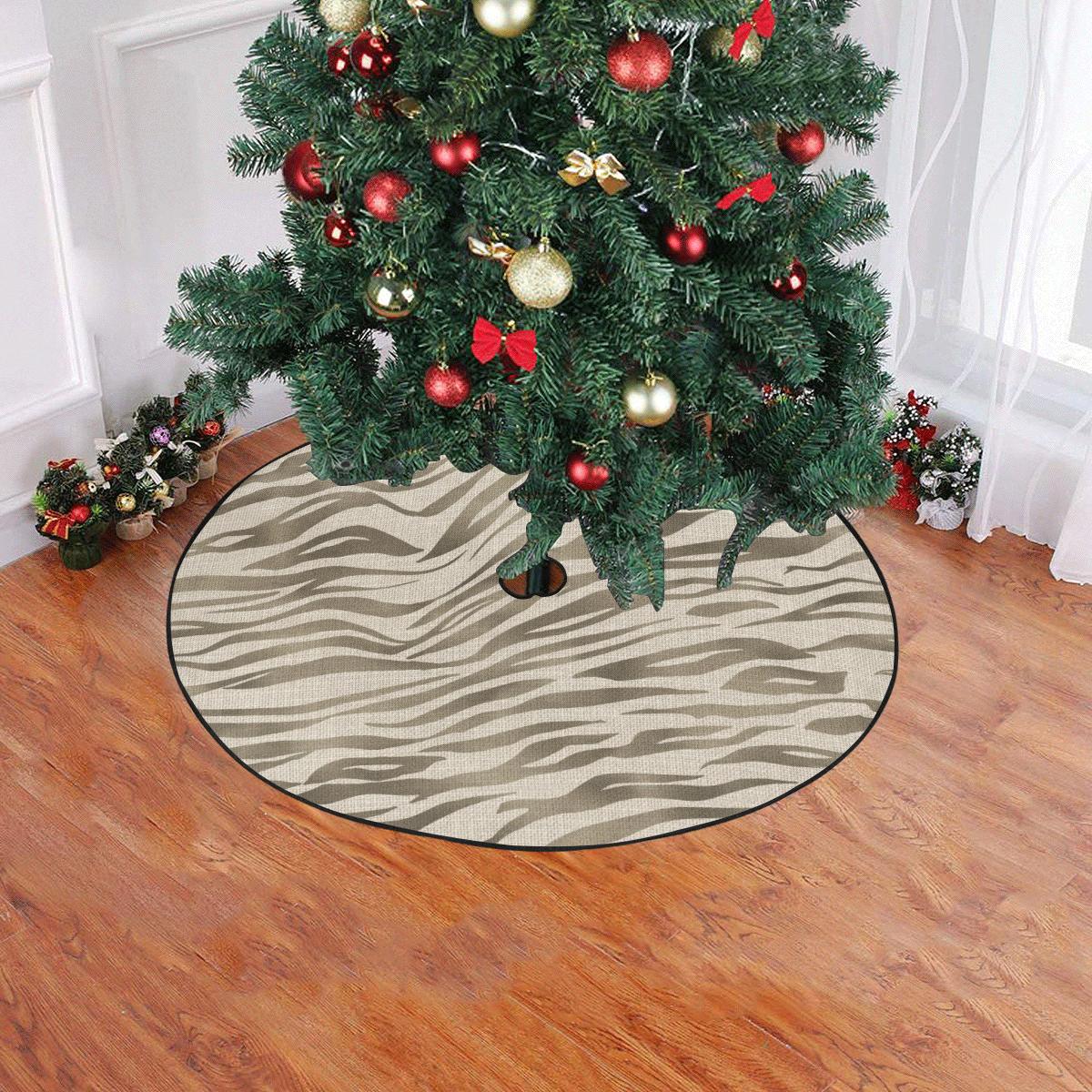 """Linen Horizontal Large Tiger Animal Print Christmas Tree Skirt 47"""" x 47"""""""