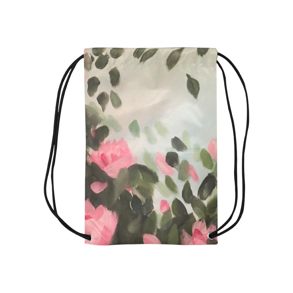 "Roses & Bushes - Small Drawstring Bag Model 1604 (Twin Sides) 11""(W) * 17.7""(H)"