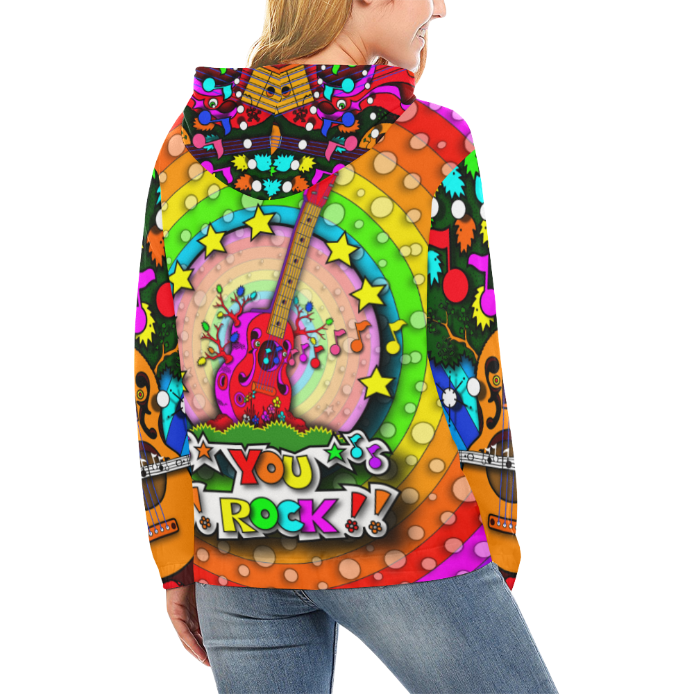 JUNGLEBIRDY _ GUITAR TREE FOREST HOODIE All Over Print Hoodie for Women (USA Size) (Model H13)