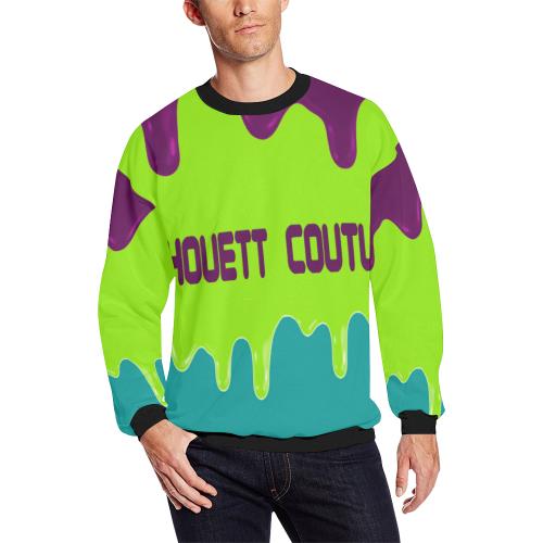 LACHOUETT PURPLE DRIP Men's Oversized Fleece Crew Sweatshirt (Model H18)