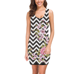 HIPSTER zigzag chevron pattern black & white Medea Vest Dress (Model D06)